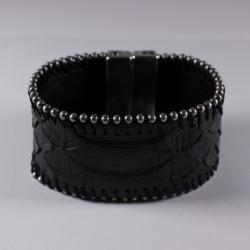 Bracelet en peau de python noir chaîne boule - Aech Cheli
