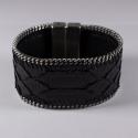 Manchette en cuir de python noir chaîne plate - Aech Cheli
