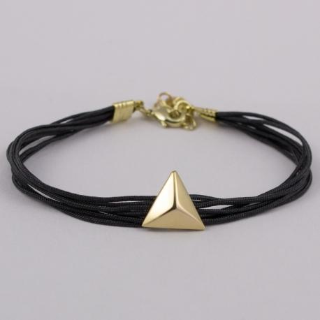 Bracelet fil gris motif pyramide plaqué or