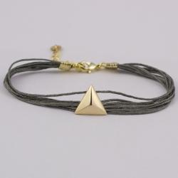 Bracelet lien gris clair motif triangle plaqué or