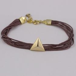 Bracelet couleur vieux rose et pyramide plaqué or