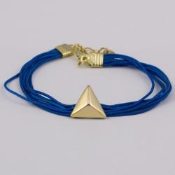 Bracelet classique fils turquoise et triangle plaqué or