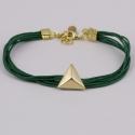 Bracelet cordon coton vert et pyramide plaqué or