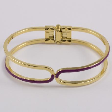 Bracelet clic clac émaillé violine et plaqué or