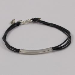 Bracelet fil gris motif tube argent