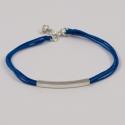 Bracelet classique fils turquoise et rectangle argent