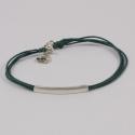 Bracelet baguette argent et cordon coton vert