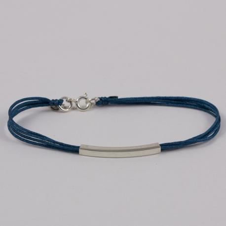Bracelet liens bleu canard et baguette argent