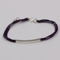 Bracelet fils violine motif rectangle argent