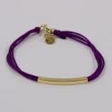 Bracelet lacet aubergine et baguette plaqué or