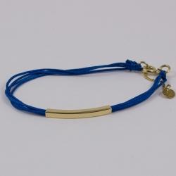 Bracelet classique fils turquoise et rectangle plaqué or