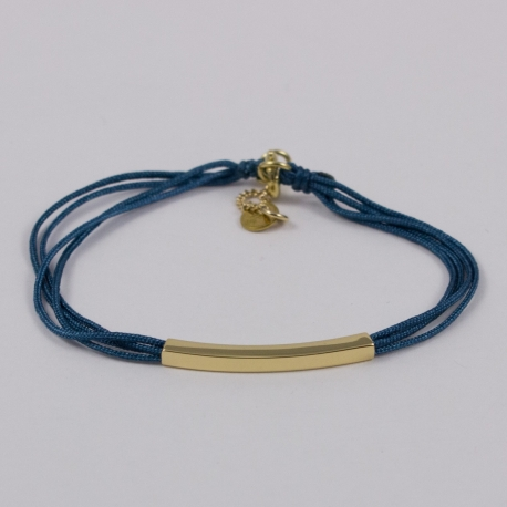 Bracelet liens bleu canard et baguette plaqué or