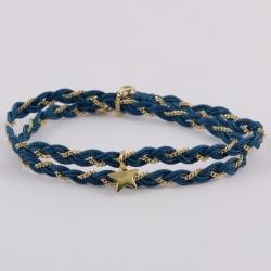 Bracelet natte chaîne plaqué or et fils de soie bleu canard