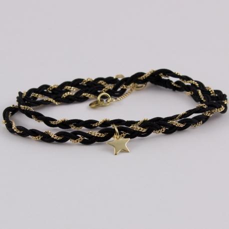 Bracelet tressé fils de soie noir et chaîne plaqué or