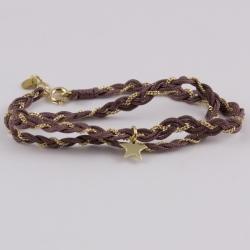 Bracelet soie vieux rose étoile et chaîne plaqué or