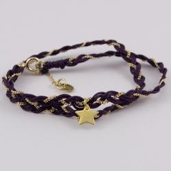Bracelet torsade chaîne plaqué or et fils de soir violine