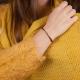 Bracelet cordons bordeaux et tube plaqué or