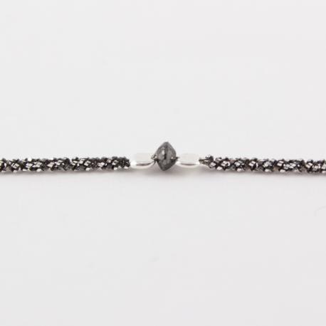 Bracelet chaine rhodiee mini diamant noir brut Black Star