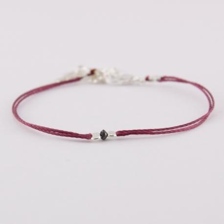 Bracelet lien bordeaux et diamant noir Black Star