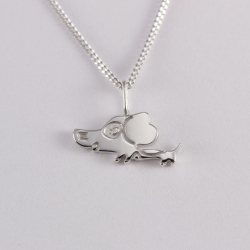 Collier enfant argent motif chiot na na na naa