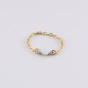 Bague chainette doree petit coeur blanc - Les Curiosités d'Elixir