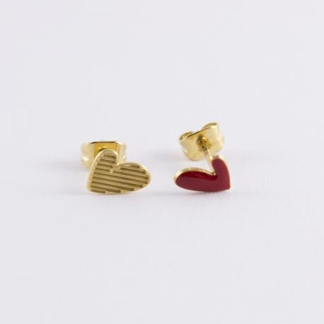 Puce d'oreille dorée Ptis coeurs rouge - Les Curiosités d'Elixir