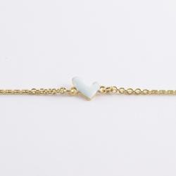 Bracelet coeur émaillé blanc doré - Les Curiosités d'Elixir