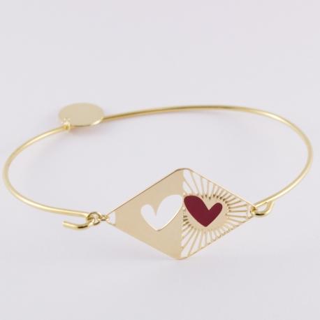 Bracelet rigide doré et émaillé rouge coeur d'artichaut - Les Curiosités d'Elixir