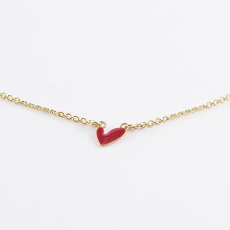 Collier cœur émaillé rouge et chaîne dorée - Les Curiosités d'Elixir