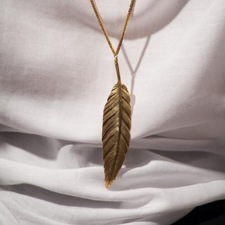 Sautoir doré Plume grand modèle - Schade Jewellery