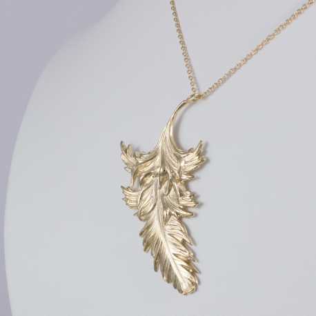 Collier plume plaqué or rose by LFDM