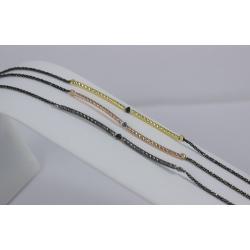 Bracelet tubulaire plaqué or rose et diamant gris