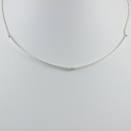 Collier branche argent et diamant gris