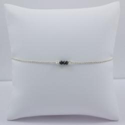 Bracelet chaine petit diamant noir brut - Tiny Black Galaxy