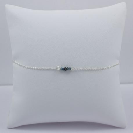 Bracelet chaine petit diamant noir et bleu brut - Constellation
