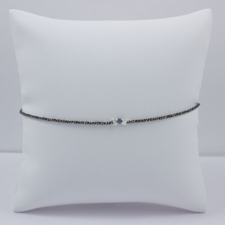 Bracelet chaine rhodiee little diamant brut Blue Star