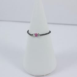 Alliance argent rhodié et saphir rose Pink Star