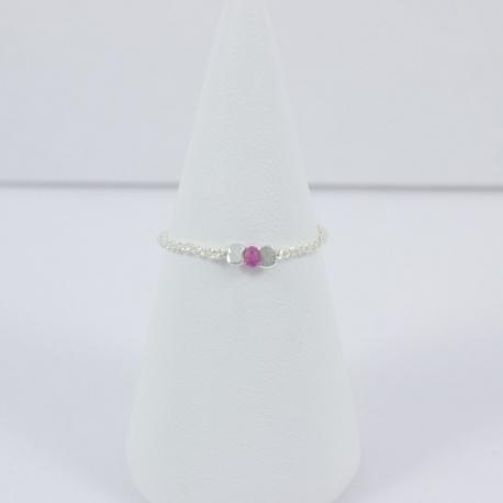 Saphir rose bague argent Frozen Pink Star