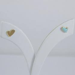 Puces d'oreilles petit coeur émaillé turquoise - Les Curiosités d'Elixir