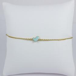 Bracelet or coeur turquoise - Les Curiosités d'Elixir
