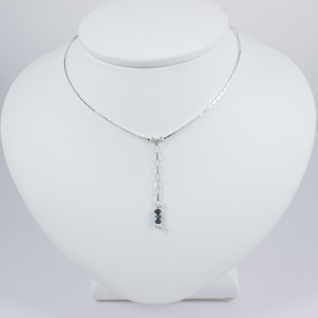Collier chaine serpent mini diamant noir et bleu brut Black Star