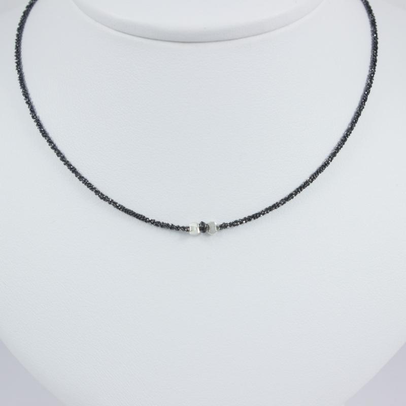 Bien connu Collier solitaire chaine argent rhodiee mini diamant noir Black  VZ42