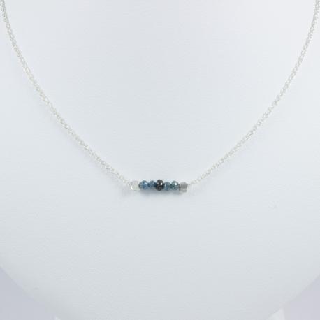 Collier chaine petit diamant noir et bleu brut - Constellation