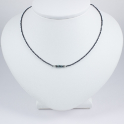 Collier chaine rhodiee petit diamant brut Constellation