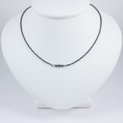 Collier chaine rhodiee petit diamant brut Constellation