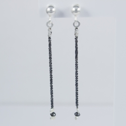 Puces d'oreilles diamants noirs Black Star