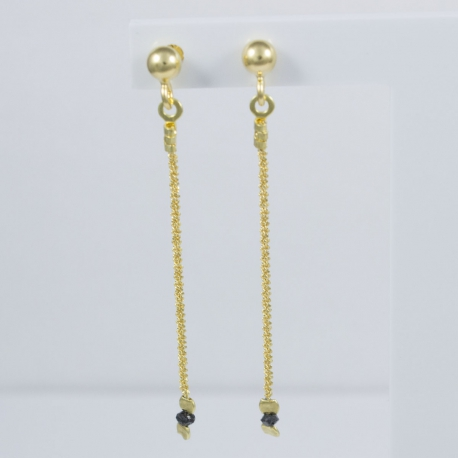 Puces d'oreilles diamants noirs Sun Black Star