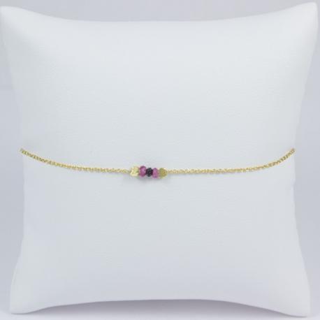 Bracelet plaqué or jaune saphirs rose et diamant noir