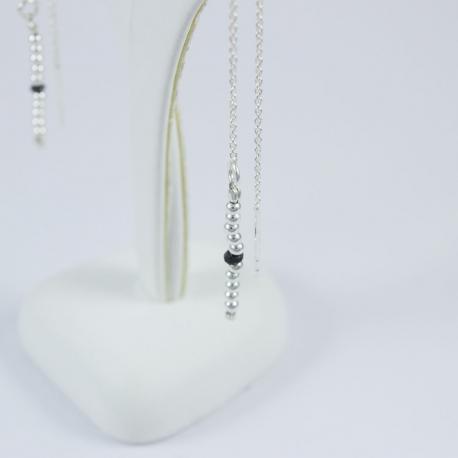 Boucles d'oreilles perles argent et diamants noirs Pearl Black Star by LFDM