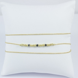 Bracelet wrap perles plaqué or et diamants noirs by LFDM